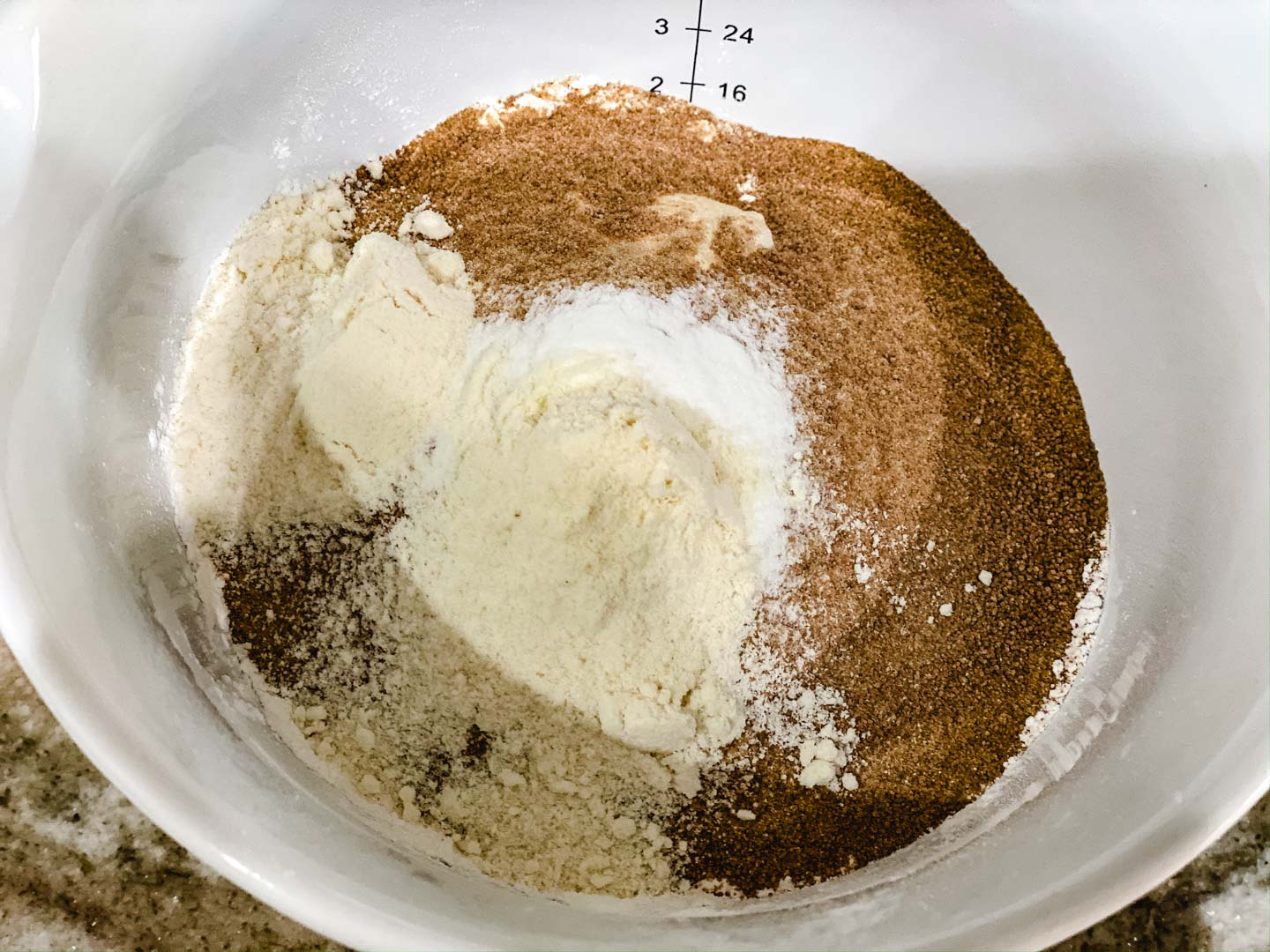 Dry ingredients in a white bowl.