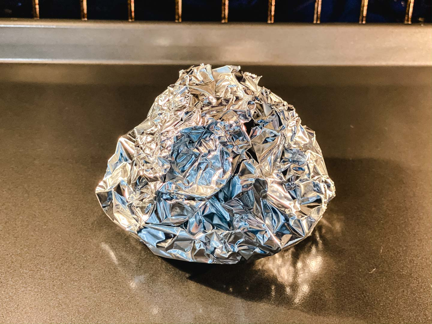 Foil ball in the oven