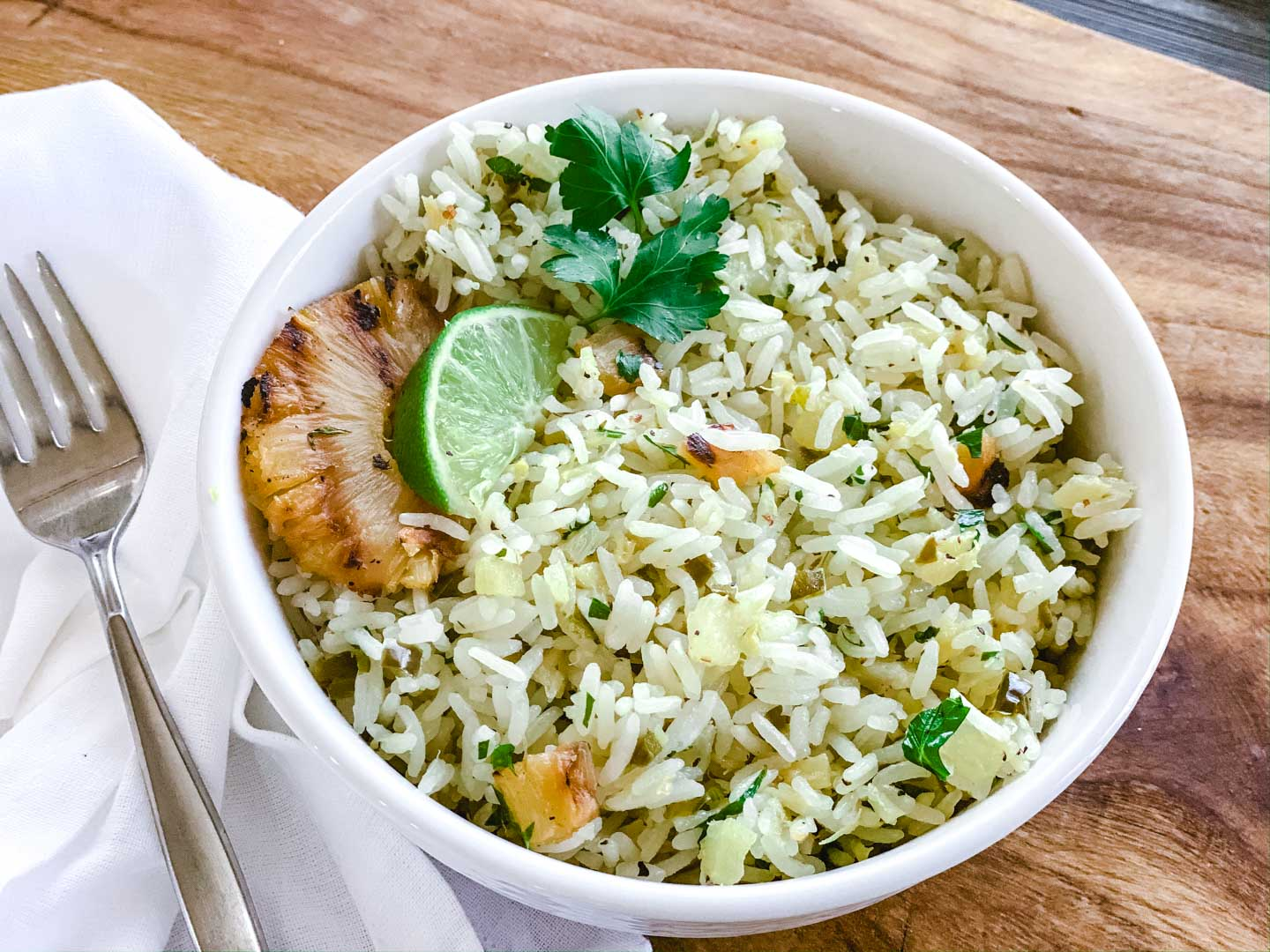 A bowl of pineapple jalapeno rice.