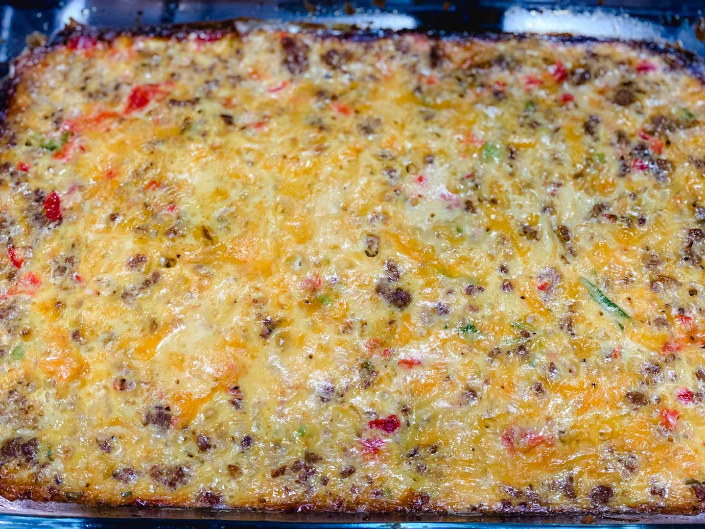 Cooked egg casserole.