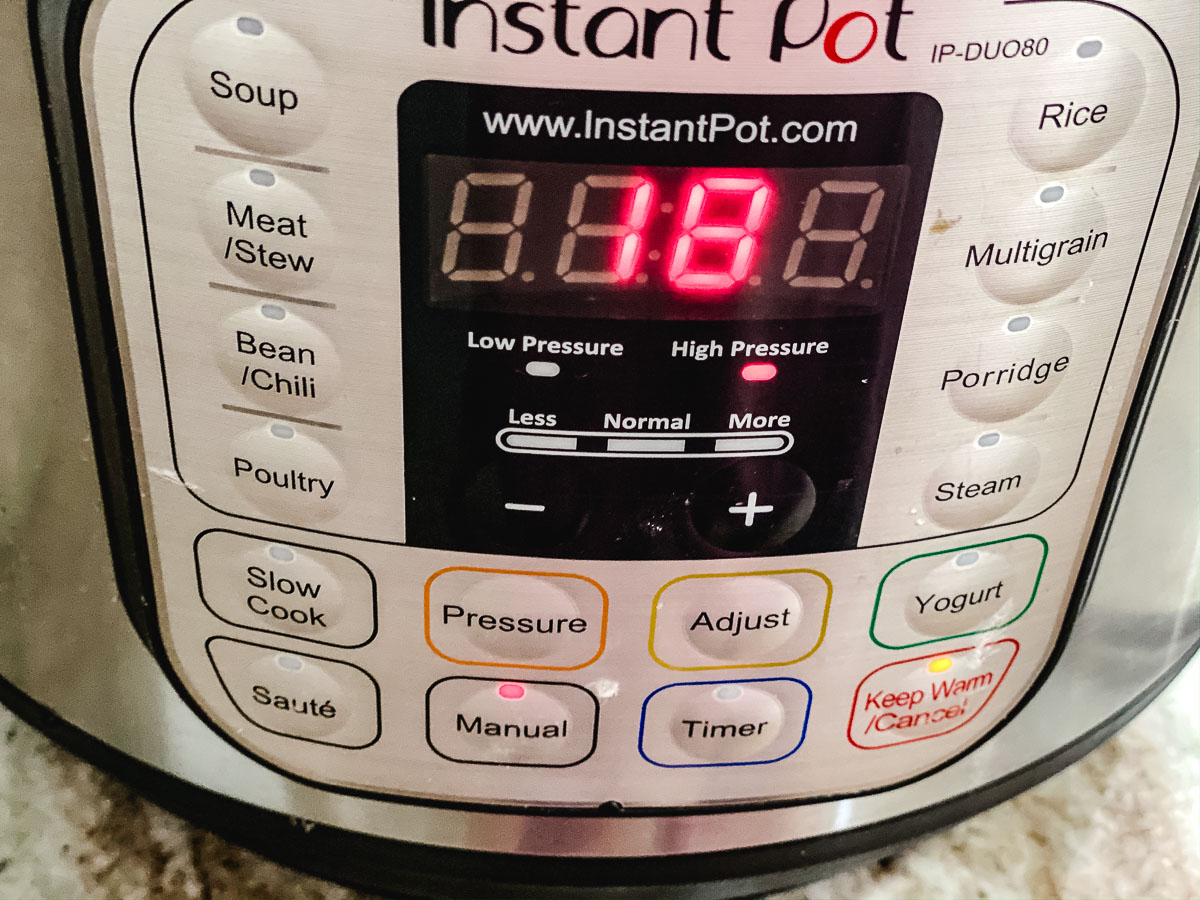 Picture of an Instant Pot set for 18 minutes.