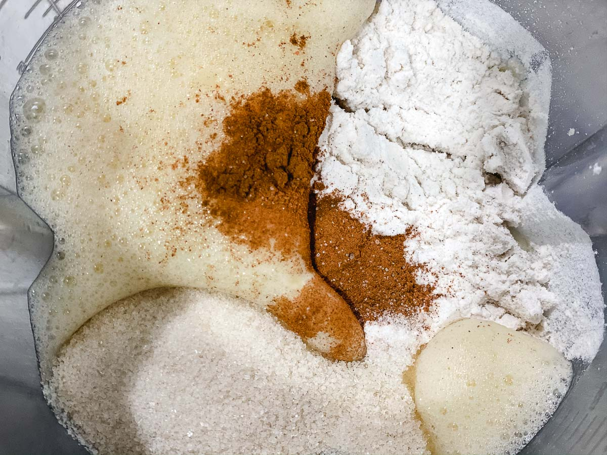 Flour, sugar, salt, and cinnamon in a blender with the wet ingredients.