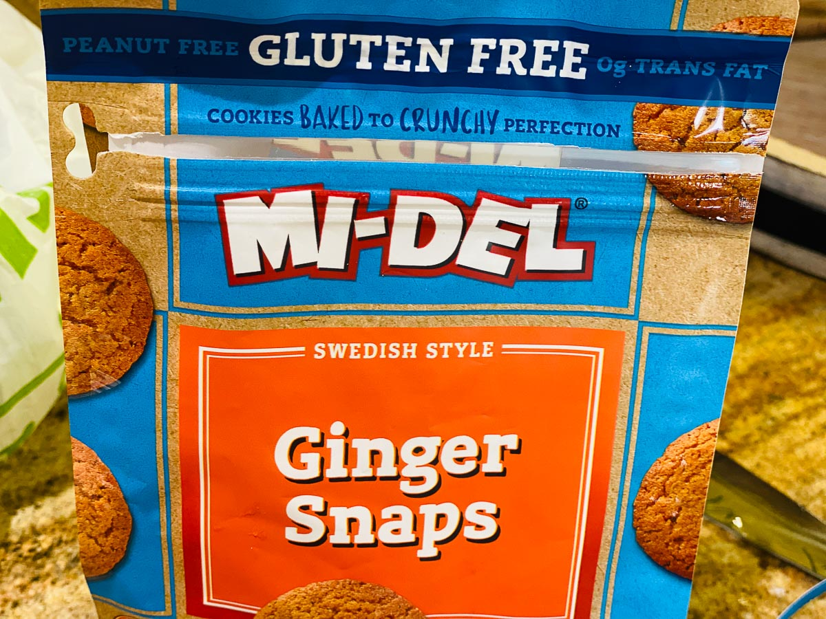 Bag of Mi-Del gluten free Ginger Snap cookies.